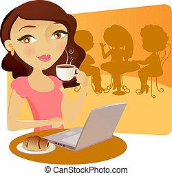 wpływy, ładna dziewczyna, coffe, młody