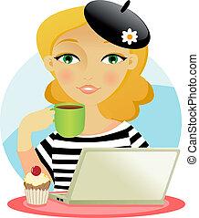 wpływy, kobieta, kawa