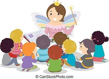 wróżka, dzieciaki, stickman, godmother, storytelling