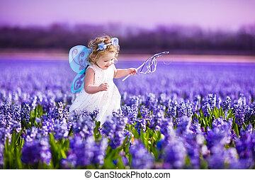wróżka, dziewczyna, sprytny, berbeć, kostium, kwiat, pole