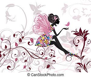 wróżka, kwiat, motyle