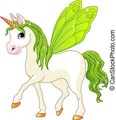 wróżka, ogon, zielony koń