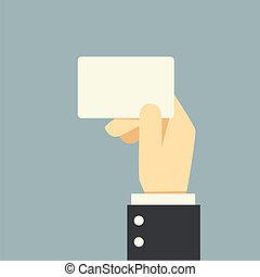 wręczać dzierżawę, karta, biznesmen