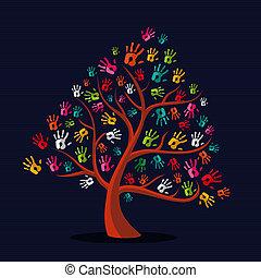 wręczać odciski, multi-ethnic, drzewo, barwny