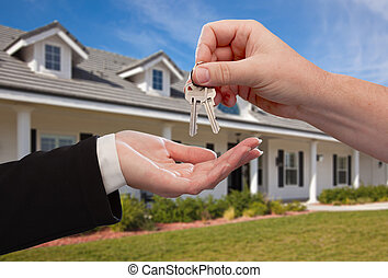 wręczając, klawiatura, dom, na, nowy, przód, dom