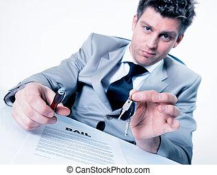 wręczając, klawiatura, na, przedstawiciel, znak, radosny, proponuje, dzierżawa
