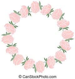 wreath., ułożyć, vector., karta, albo, flowers., szablon, kwiatowy, invitation., koło, powitanie, delikatny, piwonie, okrągły