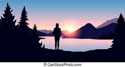 wschód słońca, las, natura, dziewczyna, samotny, rzeka krajobraz