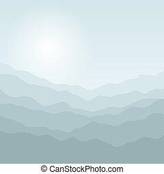 wschód słońca, sylwetka, góry