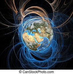 wschód, ziemia, energia, pola
