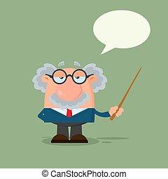 wskazówka, profesor, litera, albo, naukowiec, mowa, dzierżawa, bańka, rysunek