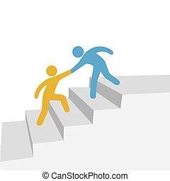 współpraca, postęp, przyjaciel, pomoc