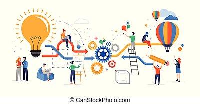 współpracując, o, grupa, handlowy zaludniają, myślenie, problemy, concept., rozwiązywanie, młody, płaski, twórczy, idea, wektor, brainstorming, ilustracja, teamwork, styl