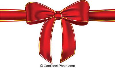 wstążka, błyszczący, czerwony, łuk daru