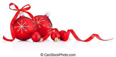 wstążka, boże narodzenie baubles, czerwony biel, tło, ozdoba, odizolowany, łuk