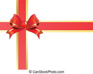 wstążka, dar, czerwony