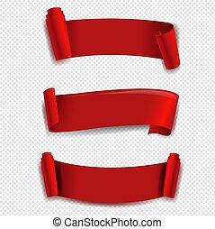 wstążka, przeźroczysty, komplet, czerwone tło