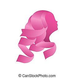 wstążka, twarz, rak, kobieta, różowy, odznaka, świadomość, pierś