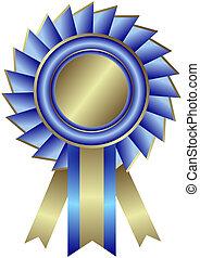 wstążka, (vector), medal, błękitny, srebrzysty