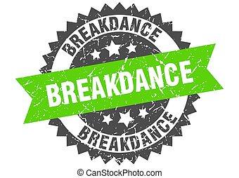 wstążka, znak, stamp., grunge, breakdance, okrągły
