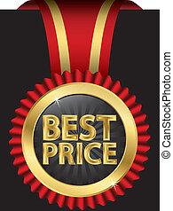 wstążki, cena, vect, najlepszy, etykieta