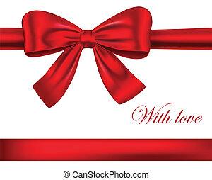 wstążki, czerwony, łuk daru