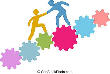 wstąpić, ludzie, technologia, połączyć, pomoc