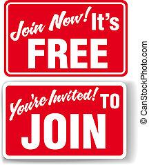wstąpić, zaproszenie, wolne członkostwo, znaki, teraz