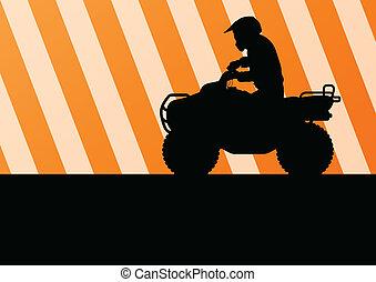 wszystko, motorower, teren, wektor, pojazd, quad, jeździec