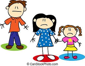 wtykać figurę, nieszczęśliwy, rodzina