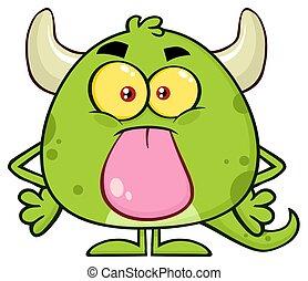 wtykając, sprytny, potwór, litera, rysunek, zielony, język, emoji, jego, poza