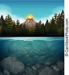 wulkan, wybuch, las