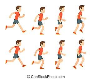 wyścigi, animation., człowiek