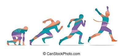 wyścigi, bok, początek, biegacz, finish., step., prospekt.