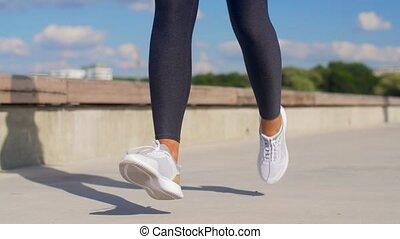 wyścigi, feet, młody, outdoors, kobieta