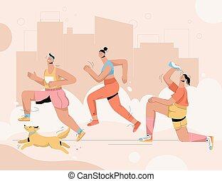 wyścigi, grupa, pies, maraton, ludzie, ulica