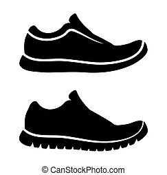 wyścigi, ikona, obuwie