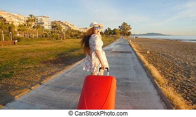 wyścigi, kobieta, młody, czerwony, walizka