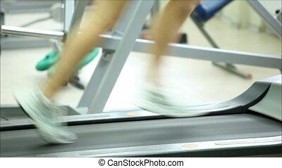 wyścigi, kobieta, młody, deptak