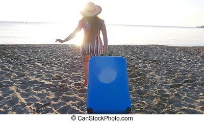 wyścigi, kobieta, plaża, młody, szczęśliwy