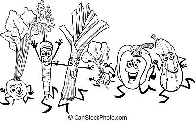 wyścigi, kolorowanie, warzywa, rysunek