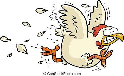 wyścigi, kurczak, rysunek