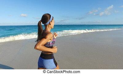 wyścigi, młody, lato, dziewczyna, plaża, dedykował, wykonując, kobieta, jogging, -