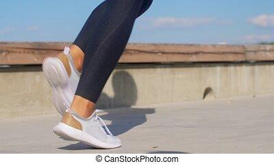 wyścigi, młody, outdoors, feet, kobieta