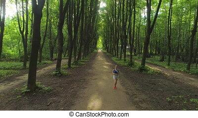 wyścigi, młody, piękny, zielony, kobieta, zdrowy