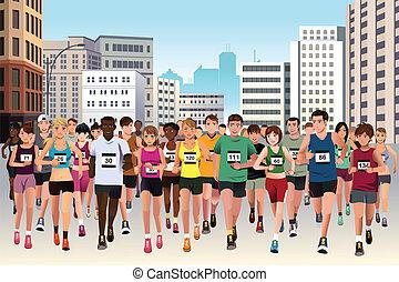 wyścigi, maraton, ludzie
