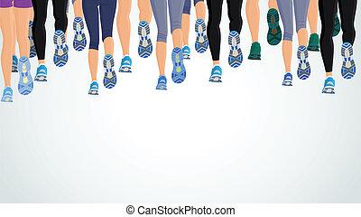 wyścigi, nogi, grupa, ludzie