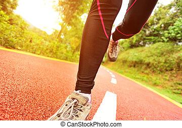 wyścigi, nogi, lekkoatletyka, ciągnąć