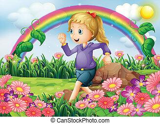 wyścigi, ogród, dziewczyna