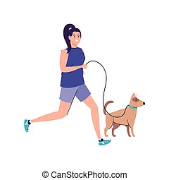 wyścigi, pies, tło, biały, kobieta